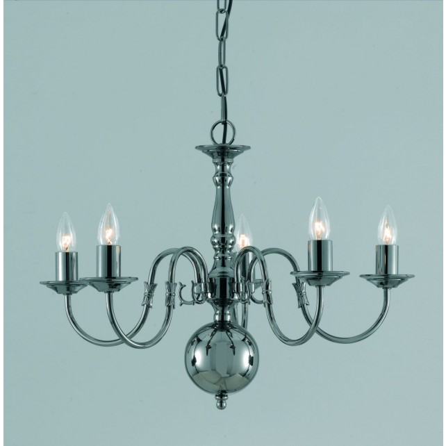 Impex Flemish Chandelier - 5 Light, Black Chrome