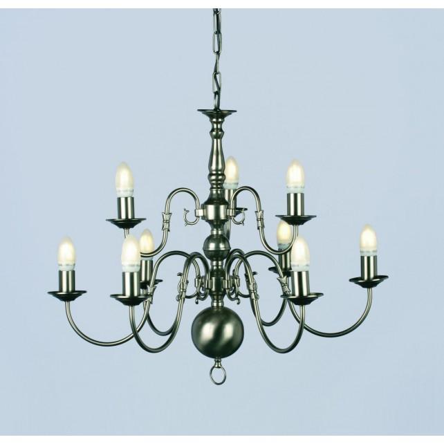 Impex Flemish Chandelier Pewter - 9 Light