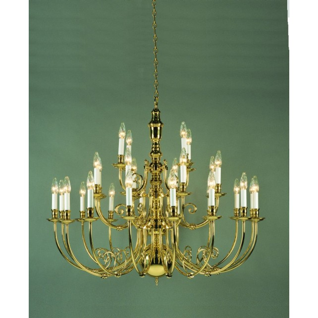 Impex Beveren Chandelier Brass - 28 Light