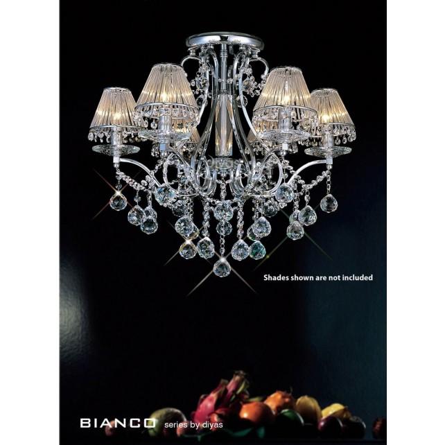 Diyas Bianco Crystal Ceiling 6 Light Chrome
