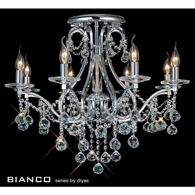 Diyas Bianco Crystal Ceiling 8 Light Chrome