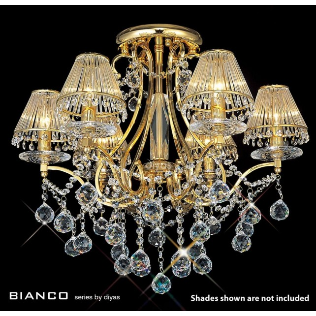 Diyas Bianco Crystal Ceiling 6 Light Gold Plated