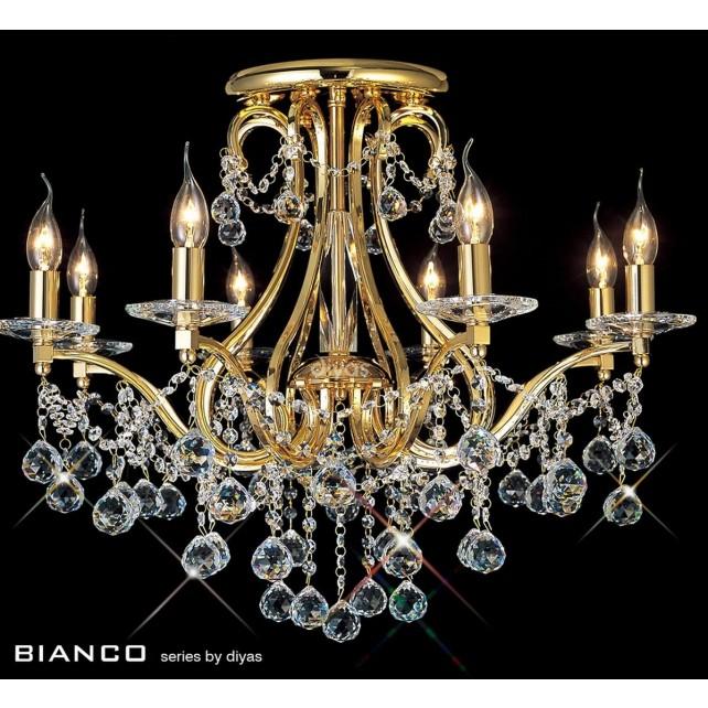 Diyas Bianco Crystal Ceiling 8 Light Gold Plated