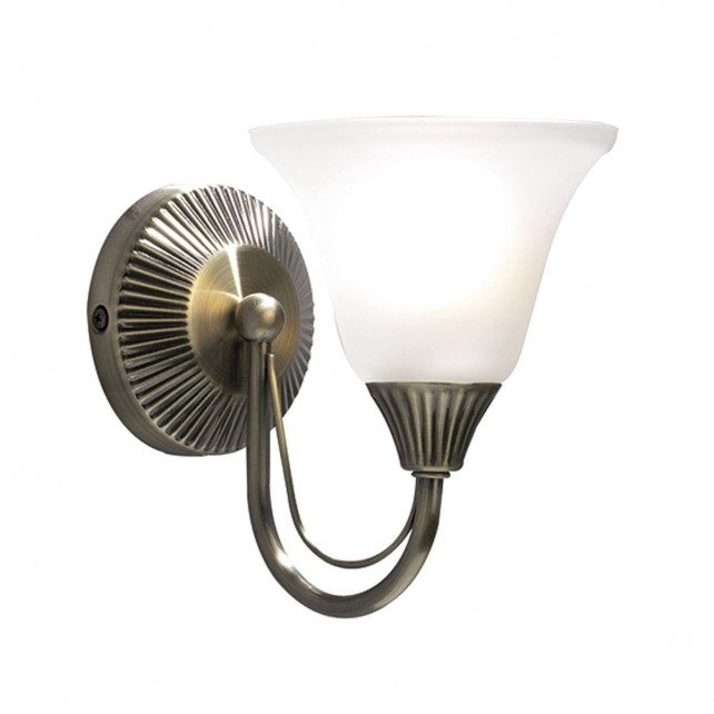 Boston Wall Light (Switched) - 1 Light Antique Brass