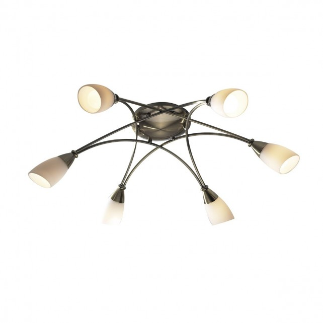 Bureau Ceiling Light - 6 Light Antique Brass
