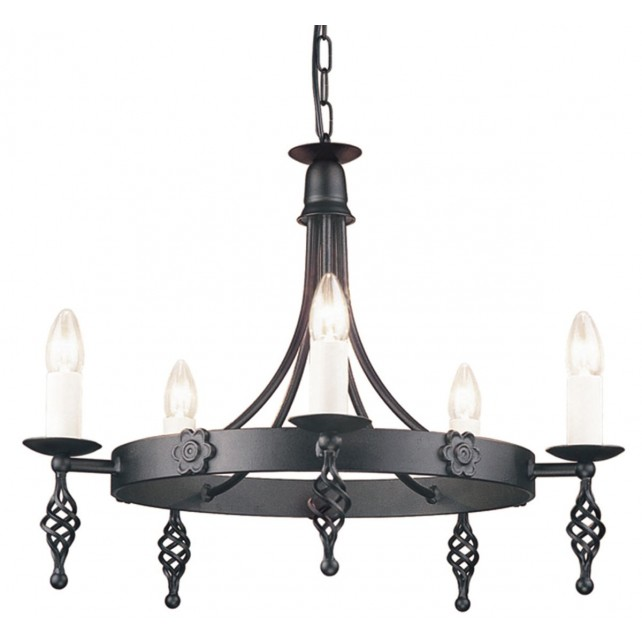 Elstead BY5 BLACK Belfry 5 - Light Chandelier Black