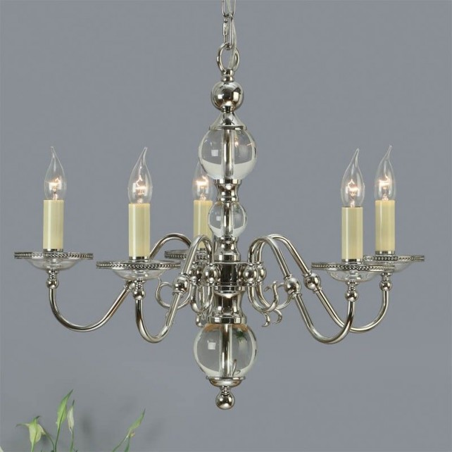 Interiors1900 Tilburg Nickel 5-Light Chandelier