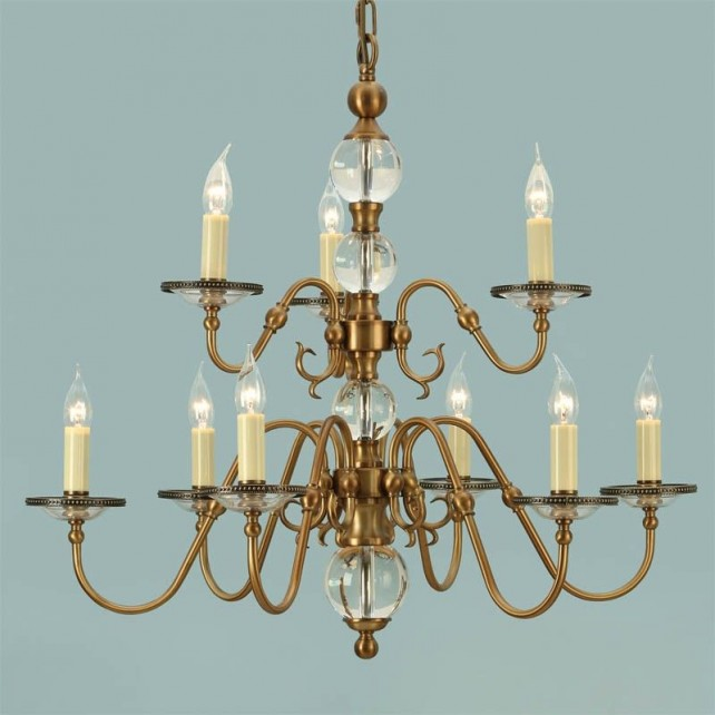 Interiors1900 Tilburg Antique Brass 9-Light Chandelier