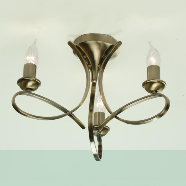 Interiors1900 Penn Brushed Brass 3-Light Flush