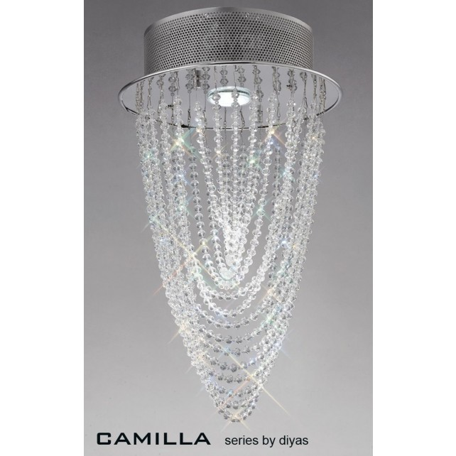 Diyas Camilla Ceiling 1 Light Polished Chrome/Crystal