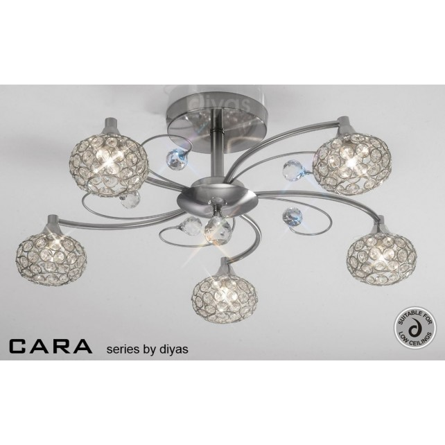 Diyas Cara Semi Flush 5 Light Satin Nickle/Crystal