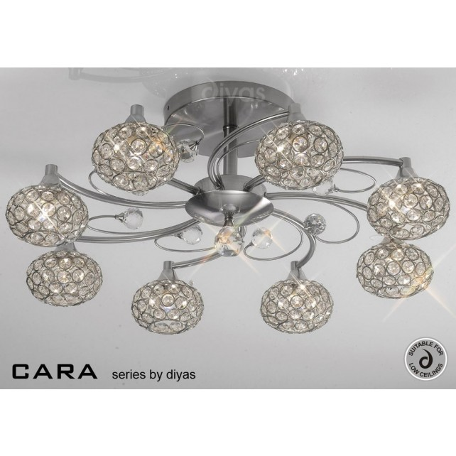 Diyas Cara Semi Flush 8 Light Satin Nickle/Crystal