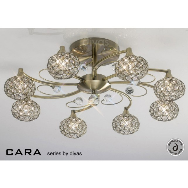 Diyas Cara Semi Flush 8 Light Antique Brass/Crystal