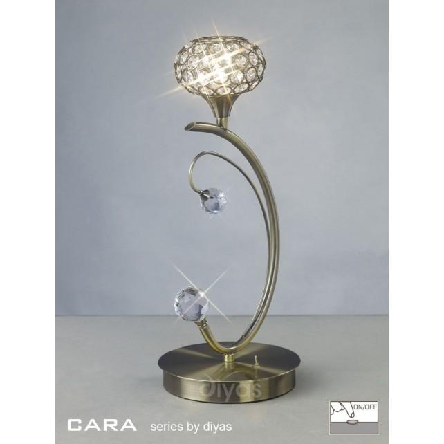 Diyas Cara Table Lamp 1 Light Antique Brass/Crystal