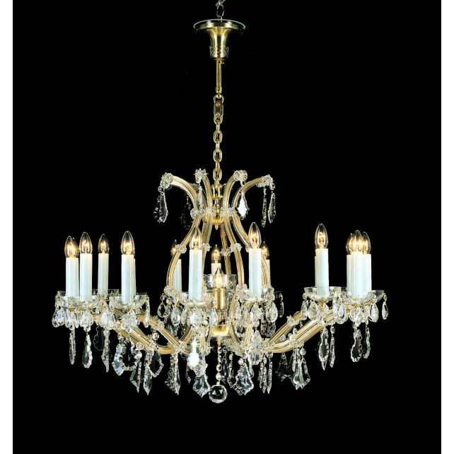 Impex Karlova Chandelier - 17 Light, Brass Plate & Gold Plate