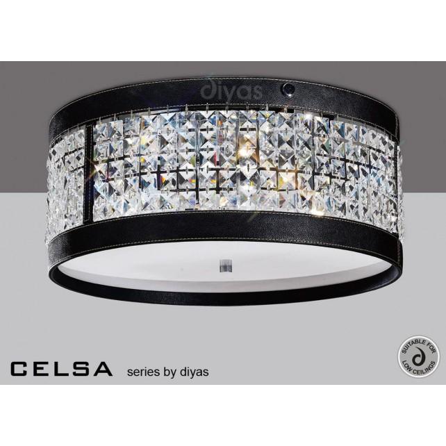 Diyas Celsa Ceiling 4 Light Polished Chrome/Black Faux Leather/Crystal