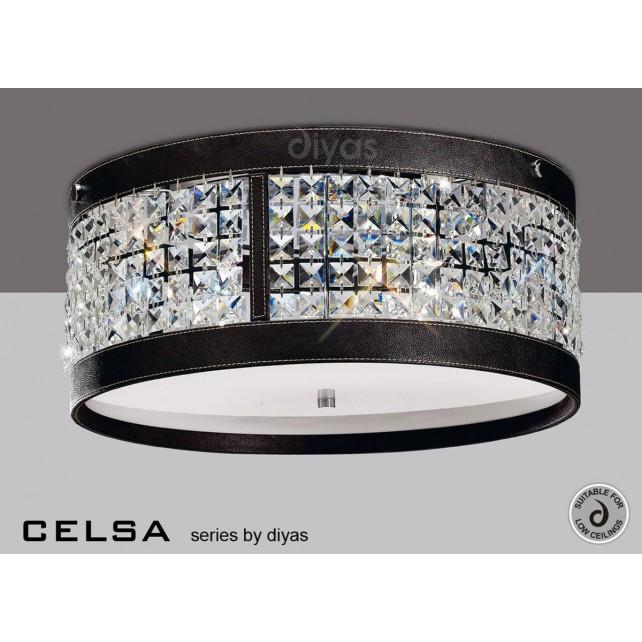 Diyas Celsa Ceiling 4 Light Polished Chrome/Dark Brown Faux Leather/Crystal