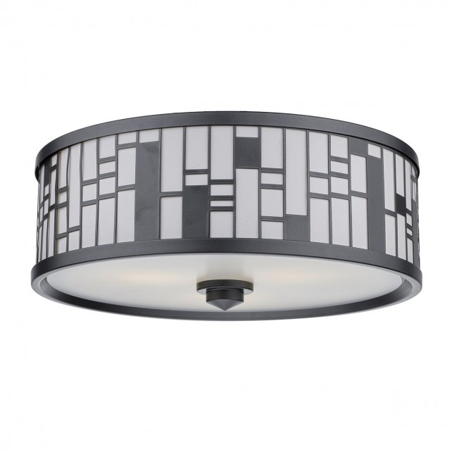 Ceros 3 Light Flush Pewter Fabric Shade