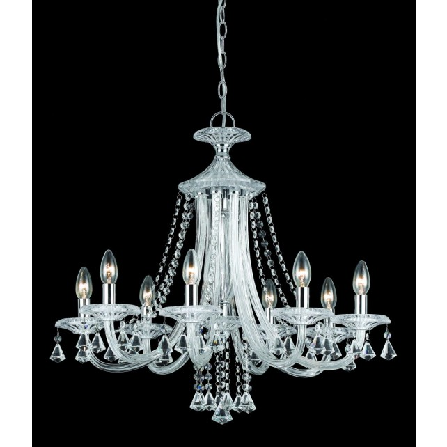 Impex Calgary Chandelier - 8 Light, Chrome