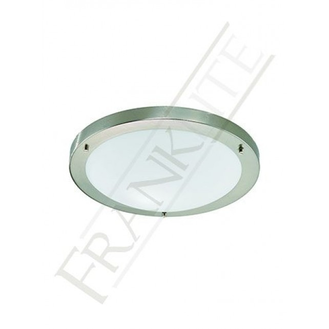Franklite 310mm Circular Flush Ceiling Light - IP44 Satin Nickel, Matt White Glass