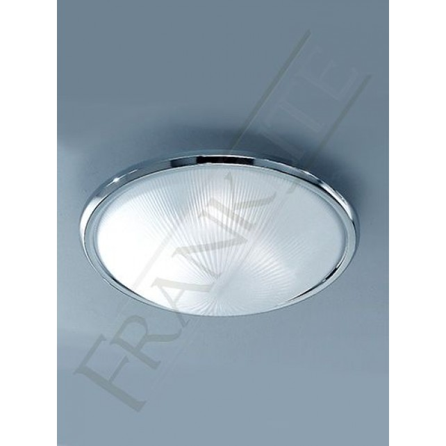 Franklite 400mm Circular Flush Fitting - Chrome, Frosted Prismatic Glass
