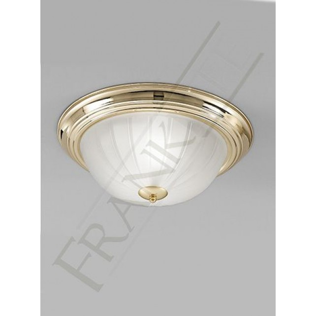 Franklite 355mm Circular Flush Fitting - Polished Brass, Ribbed Acid Glass