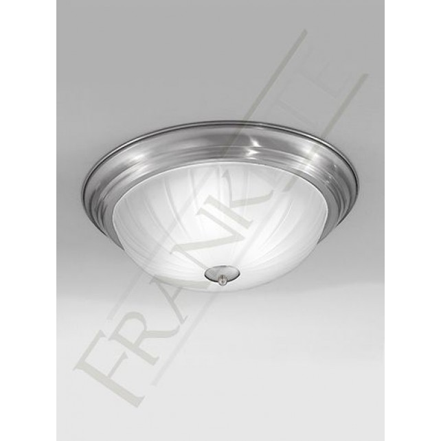 Franklite 390mm Circular Flush Fitting - Satin Nickel, Complete with Ribbed Glass