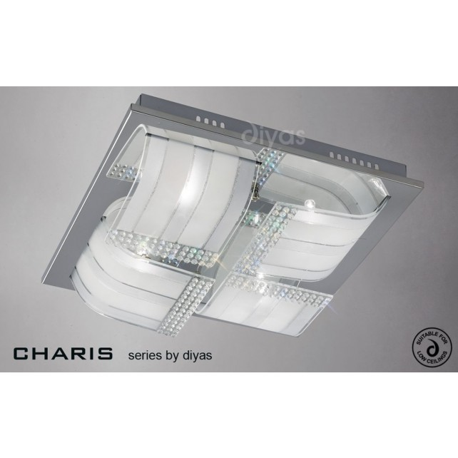 Diyas Charis Ceiling 4 Light Large Chrome/Crystal