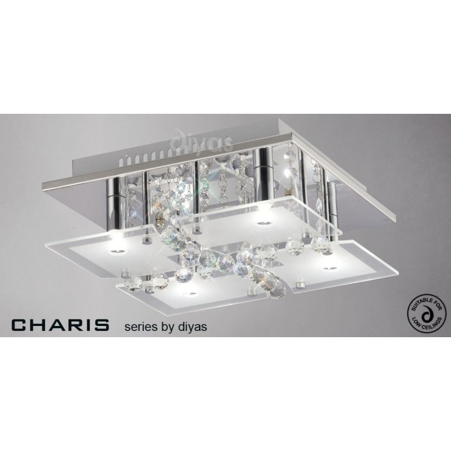 Diyas Chisora Ceiling 4 Light Chrome/Crystal