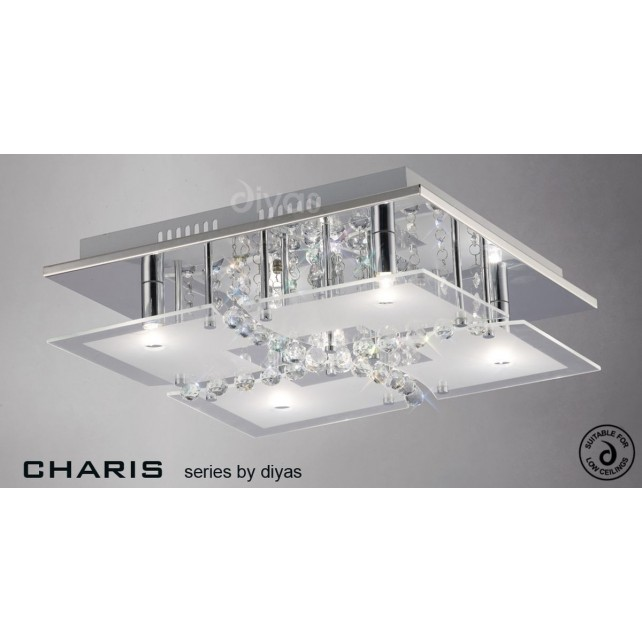 Diyas Chisora Ceiling 5 Light Chrome/Crystal