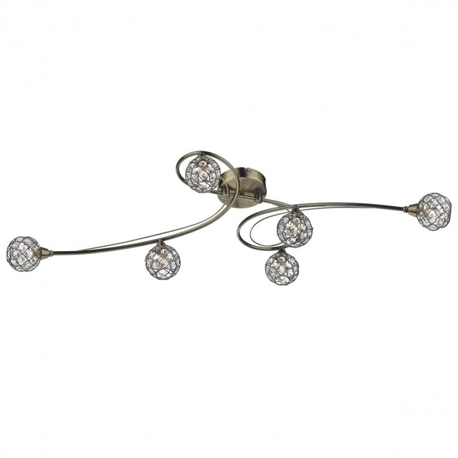 Circa Semi Flush Ceiling Light - 6 Light, Antique Brass