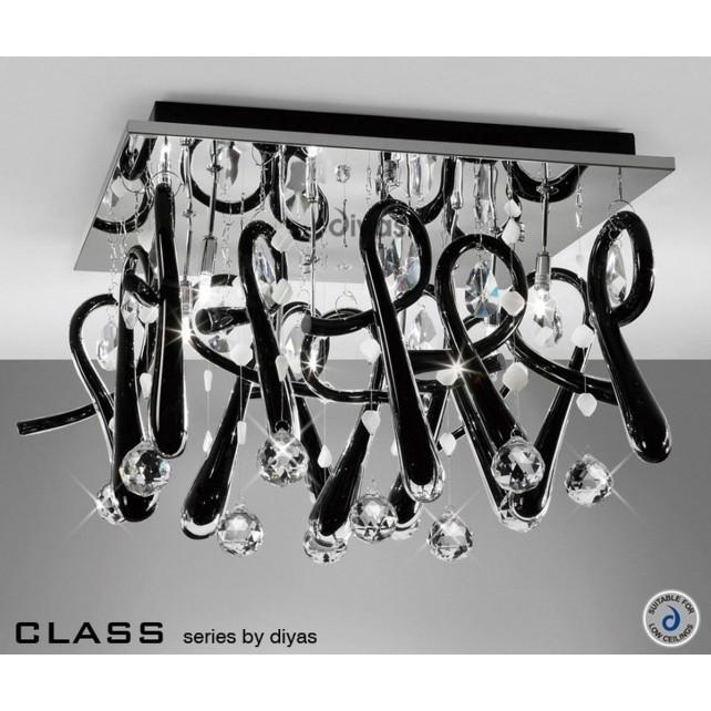 Diyas Class Black Square Ceiling 10 Light