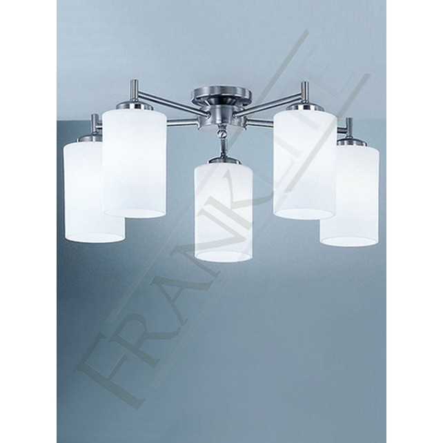 Franklite Decima Ceiling Light - 5 Light, (Down), Matt Nickel, Opal Glasses