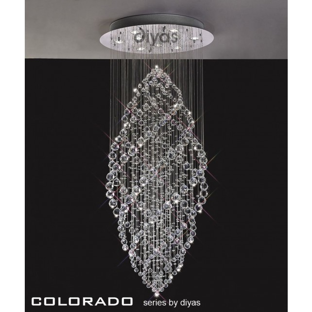 Diyas Colorado Pendant 9 Light Polished Chrome/Crystal