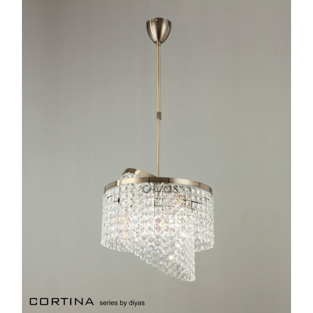 Diyas Cortina Pendant 6 Light Antique Brass/Crystal