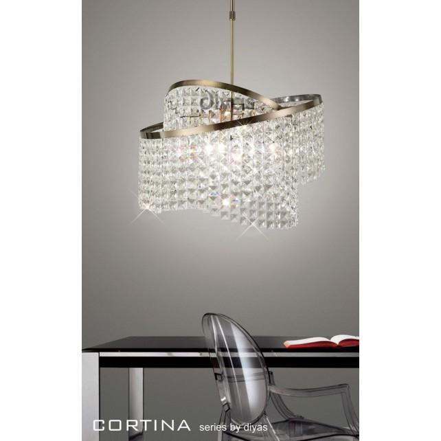 Diyas Cortina Pendant 8 Light Antique Brass/Crystal