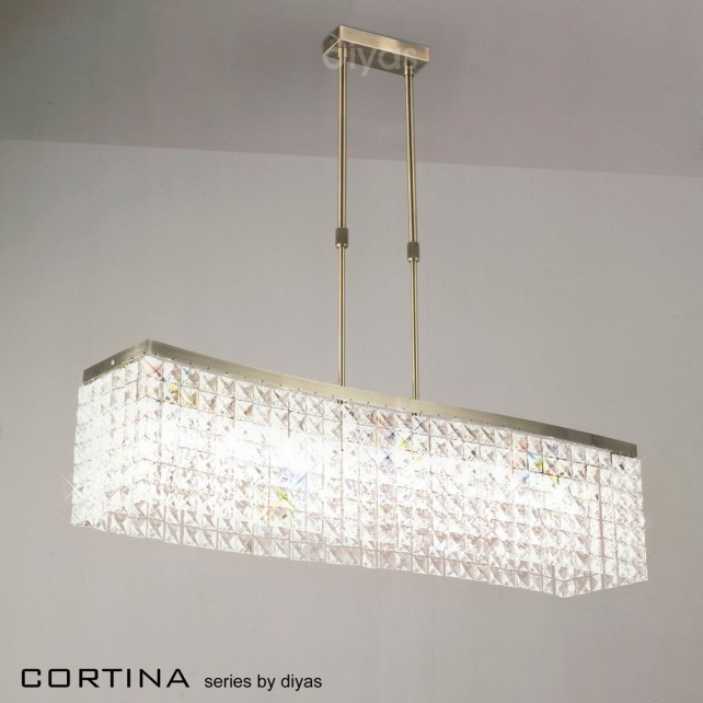 Diyas Cortina Pendant 8 Light Bar Antique Brass/Crystal