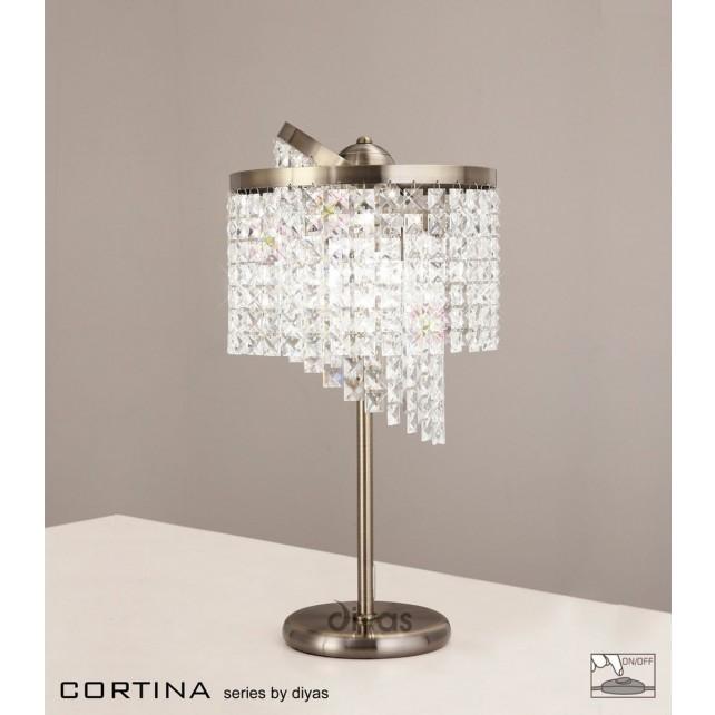 Diyas Cortina Table Lamp 3 Light Antique Brass/Crystal