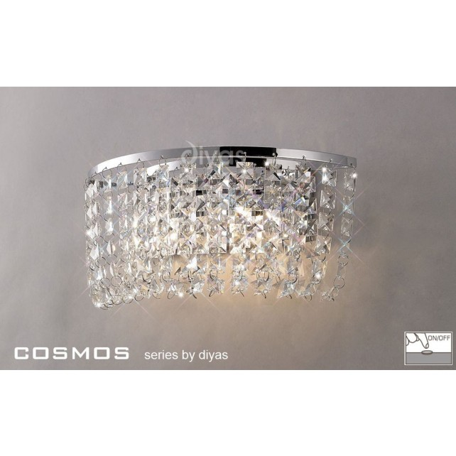 Diyas Cosmos Wall Lamp 2 Light Polished Chrome/Crystal Switched