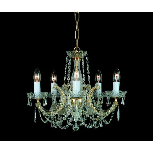Impex Marie Theresa Chandelier - 5 Light, Polished Chrome