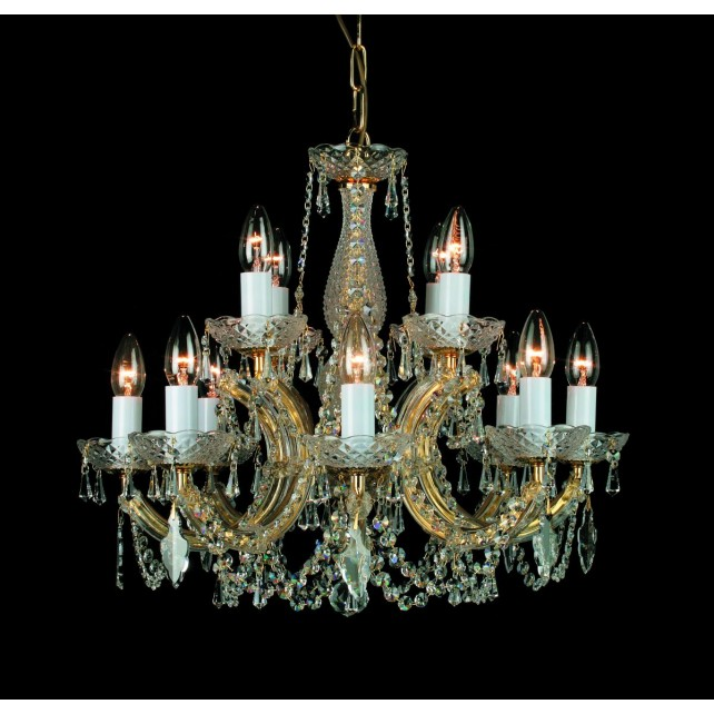 Impex Marie Theresa Chandelier Gold - 12 Light