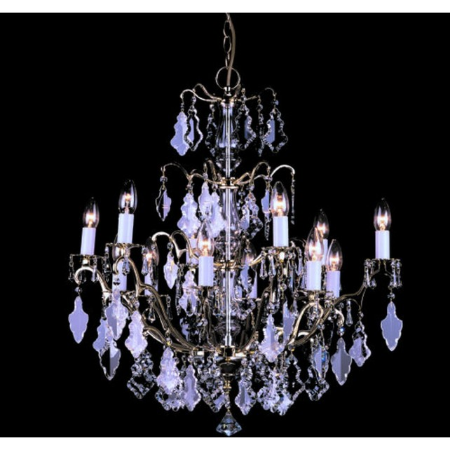Impex Louvre Chandelier Polished Brass - 12 Light