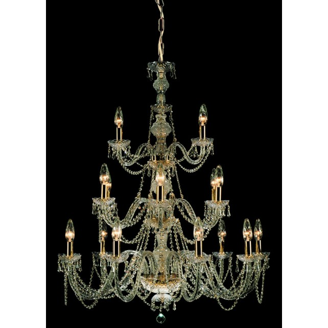 Impex Modra Chandelier - 18 Light, Brass Plate & Gold Plate