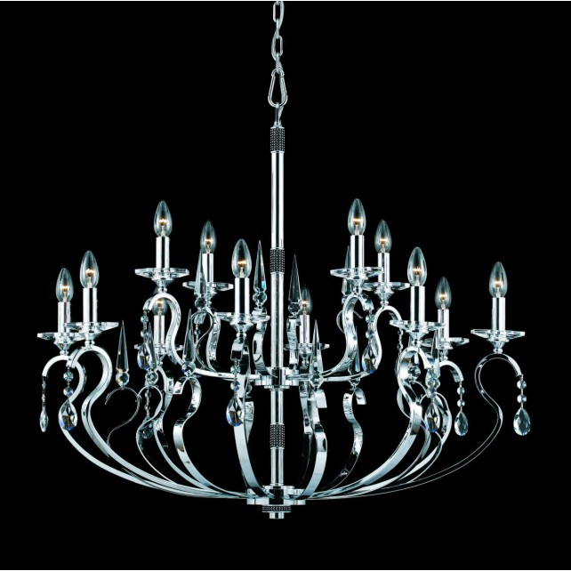 Impex Rhinestone Chandelier - 12 Light, Polished Chrome