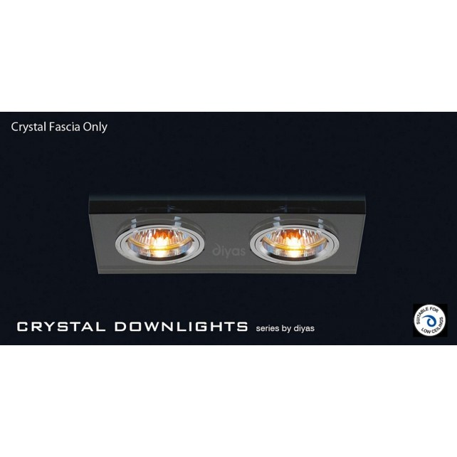 Diyas Black Crystal Rectangle Dual Head Downlight (Rim Only)