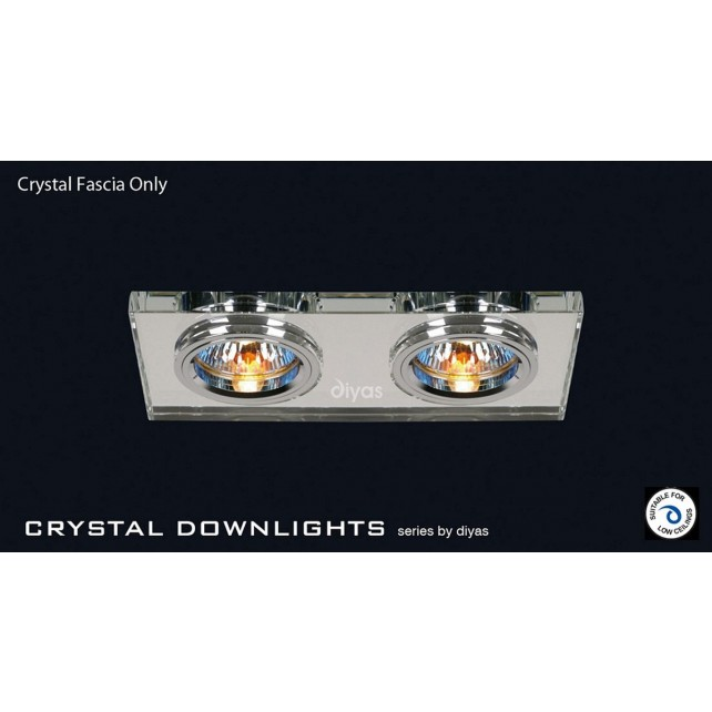 Diyas Clear Crystal Rectangle Dual Head Downlight (Rim Only)