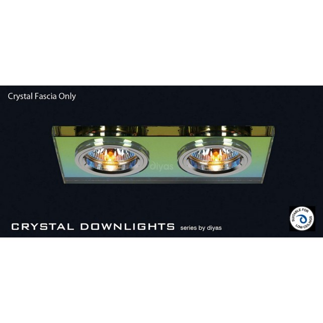 Diyas Spectrum Crystal Rectangle Dual Head Downlight (Rim Only)