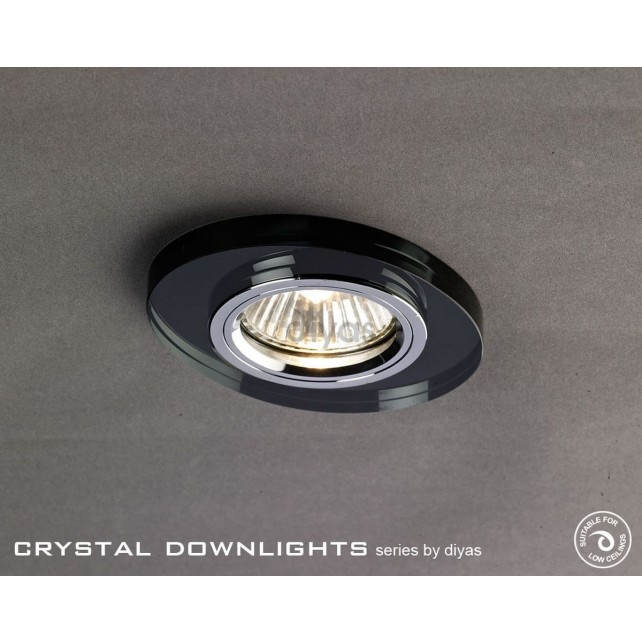 Diyas Oval Crystal Downlight Black (Rim Only)