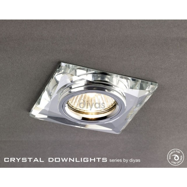 Diyas Square Crystal Downlight Chrome (Rim Only) Small
