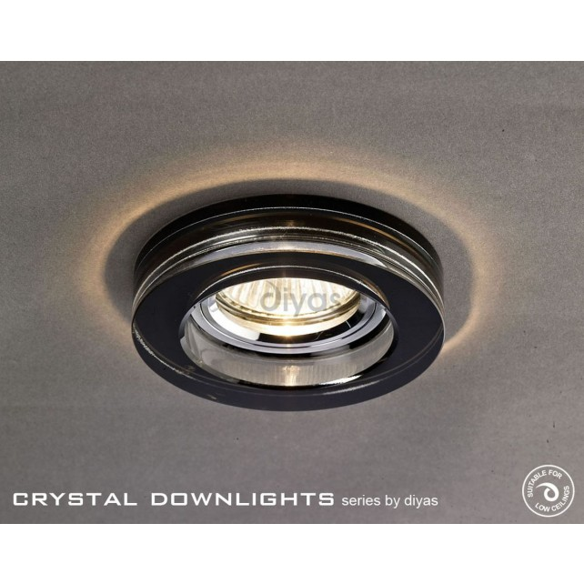 Diyas Round Crystal Downlight Black (Rim only)